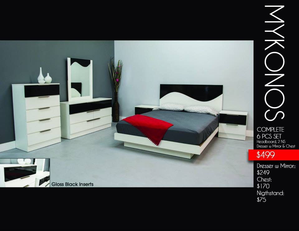 Mykonos 6 pcs bedroom set stage design for Stages bedroom collection