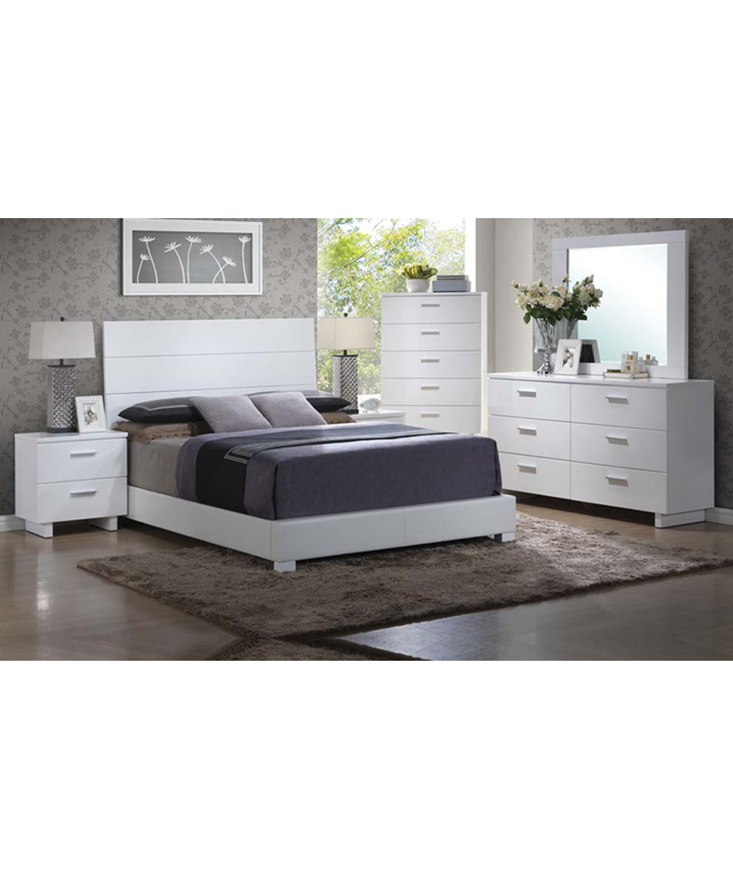 White Gloss Modern Bedroom Set Stage Design Miami Furniture Store