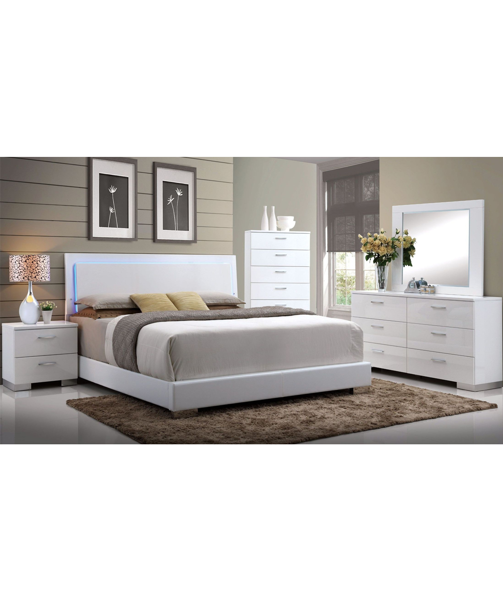 White Modern Led Bedroom Set Stage Design Miami Furniture Store